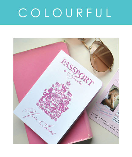 Custom Colorful Passport Invitations created to match your color scheme perfectly