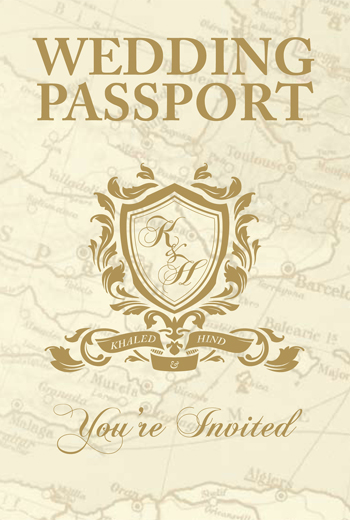 Custom Gold Foil Block Passport Wedding Invitation with Shield and Monogram Cover
