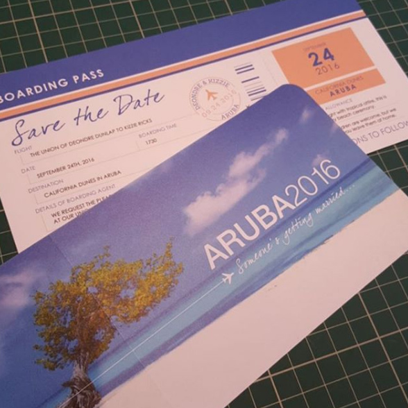 Save the Date Airline Ticket Invitation for wedding in Aruba