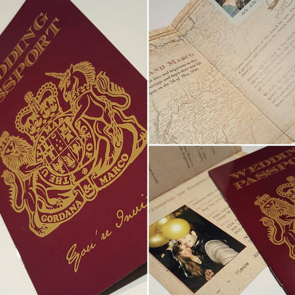Traditional British Passport Wedding Invitation