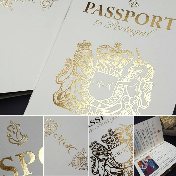 Goil Foil Blocking on Indian Wedding Invitation designed to look like a Passport for wedding in Dubai