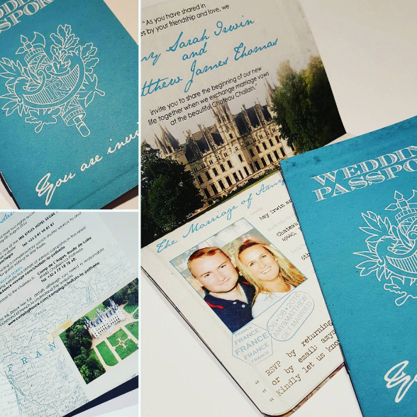 French Wedding Passport Invitation with a rustic feel