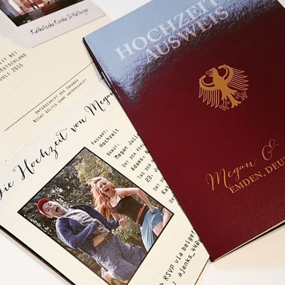 German Passport Wedding Invitations