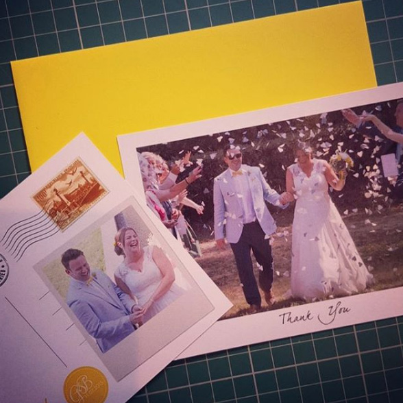 Postcard style Thank You card customised with wedding photos