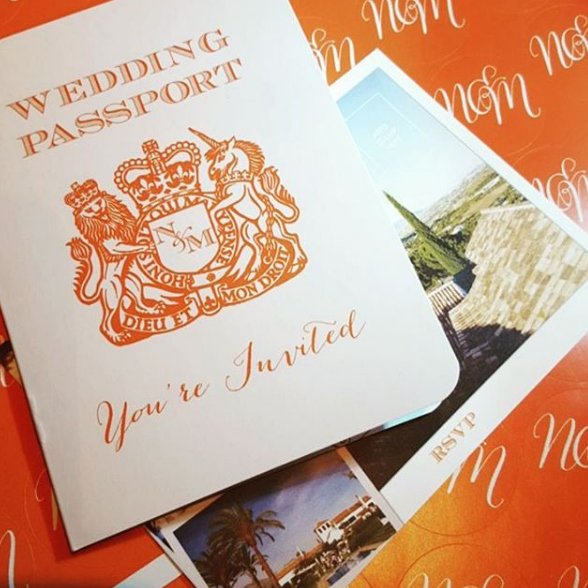 Orange Wedding Passport Invitation for wedding in Spain