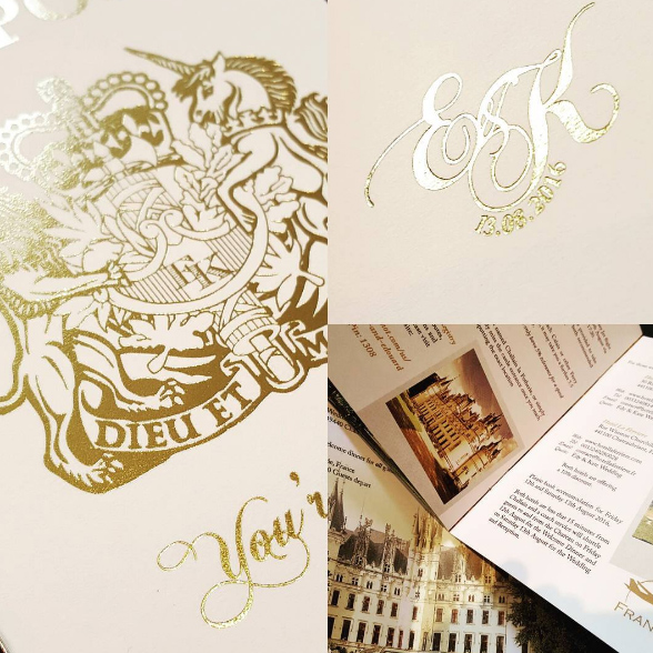Beautiful foil blocked wedding invitation in gold