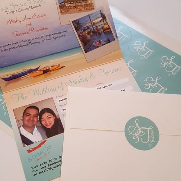 Matching monogram stickers for the back of your passport invitation envelope