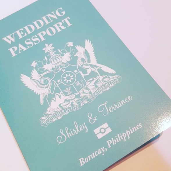 Passport invitation for wedding in the Philippines in Tiffany Blue