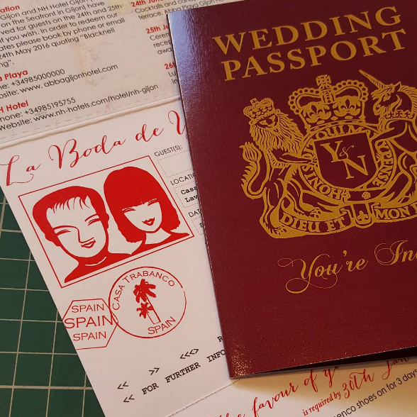 Traditional maroon UK Passport Invitation for Wedding in Spain