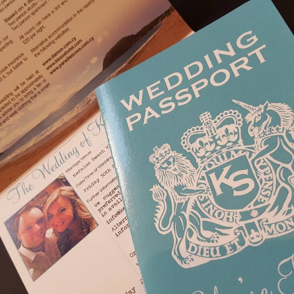 British Passport Invitation in Tiffany Blue