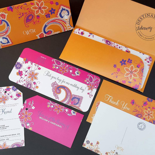 Ticket Wallet Invitations with matching information sheet and luggage tags for Indian wedding