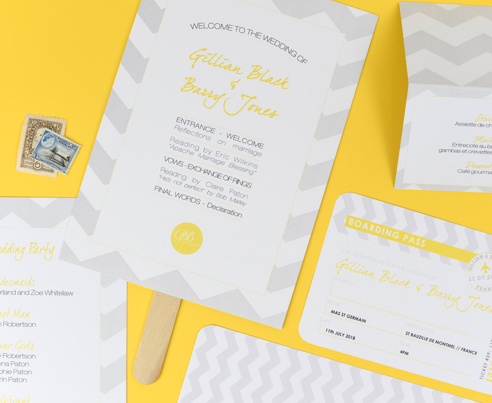 Grey and Yellow Wedding Stationery Set