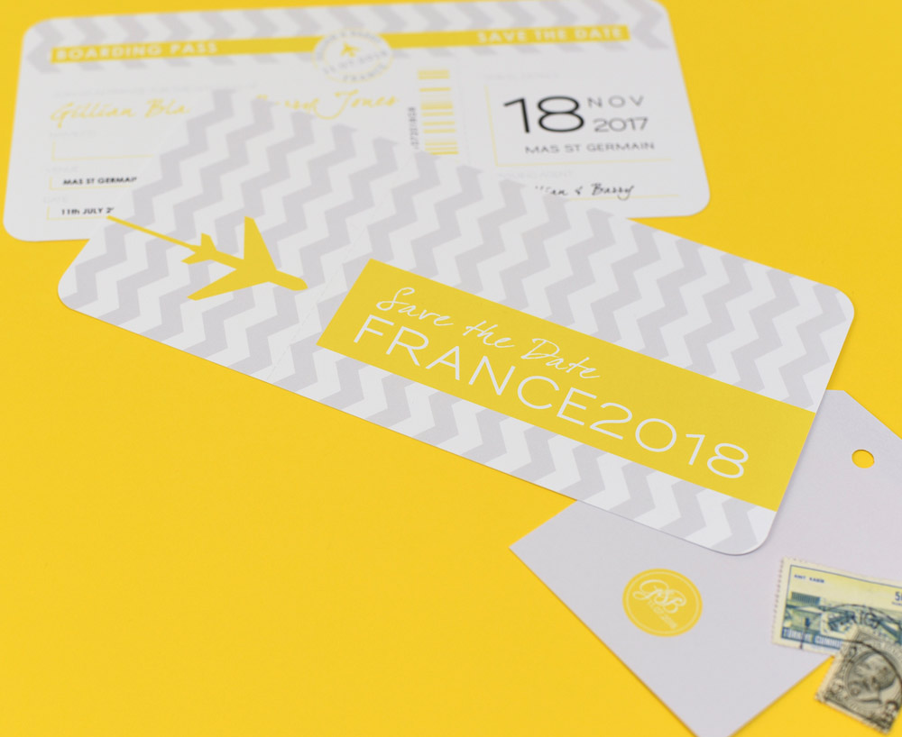 Grey and Yellow Airline Ticket Save the Date