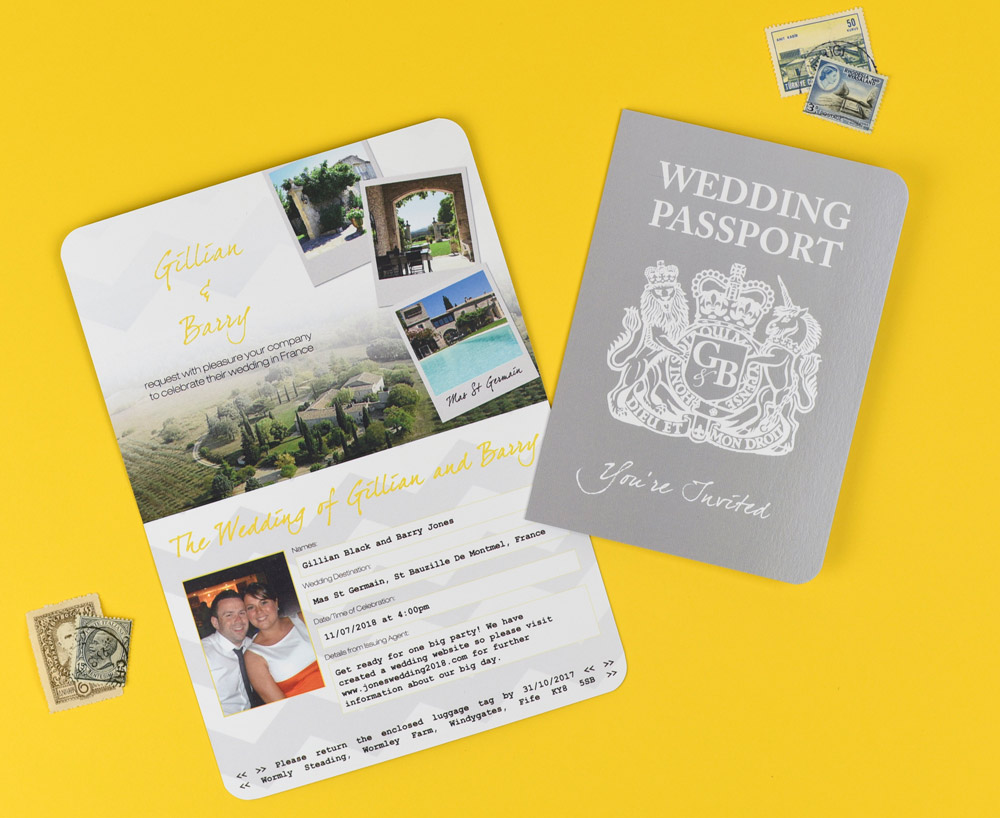 Grey and Yellow Wedding Stationery Set including Passport Invitation