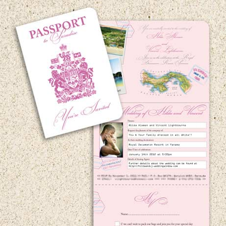 in the same darker pink from the front cover Pink Wedding Invitations