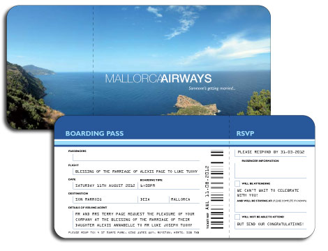 Mallorca Ticket Invitation  Airplane Ticket Invitations