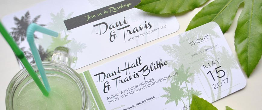 Tropical jungle wedding invitation designed to look like an airline ticket or boarding pass is perfect for your destination wedding