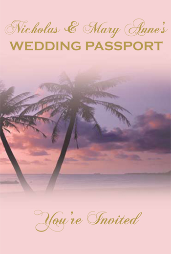 Palm Sunset Design for Wedding Invitation Passport