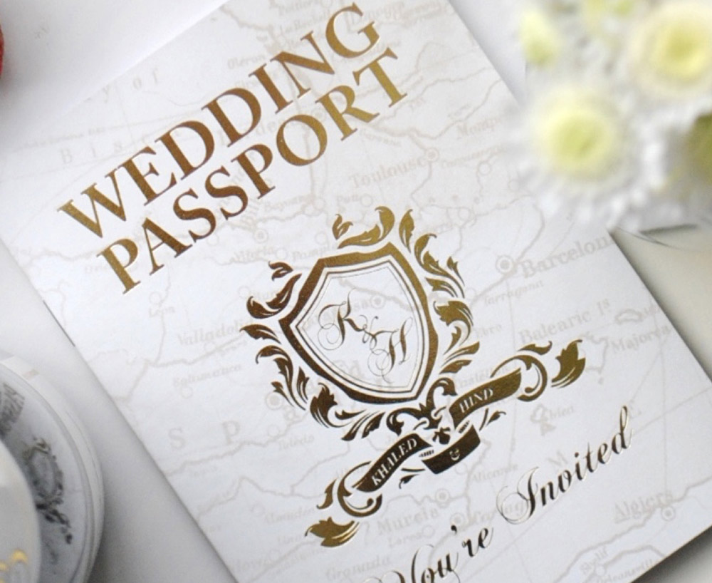 Custom Gold Foil Wedding Passport