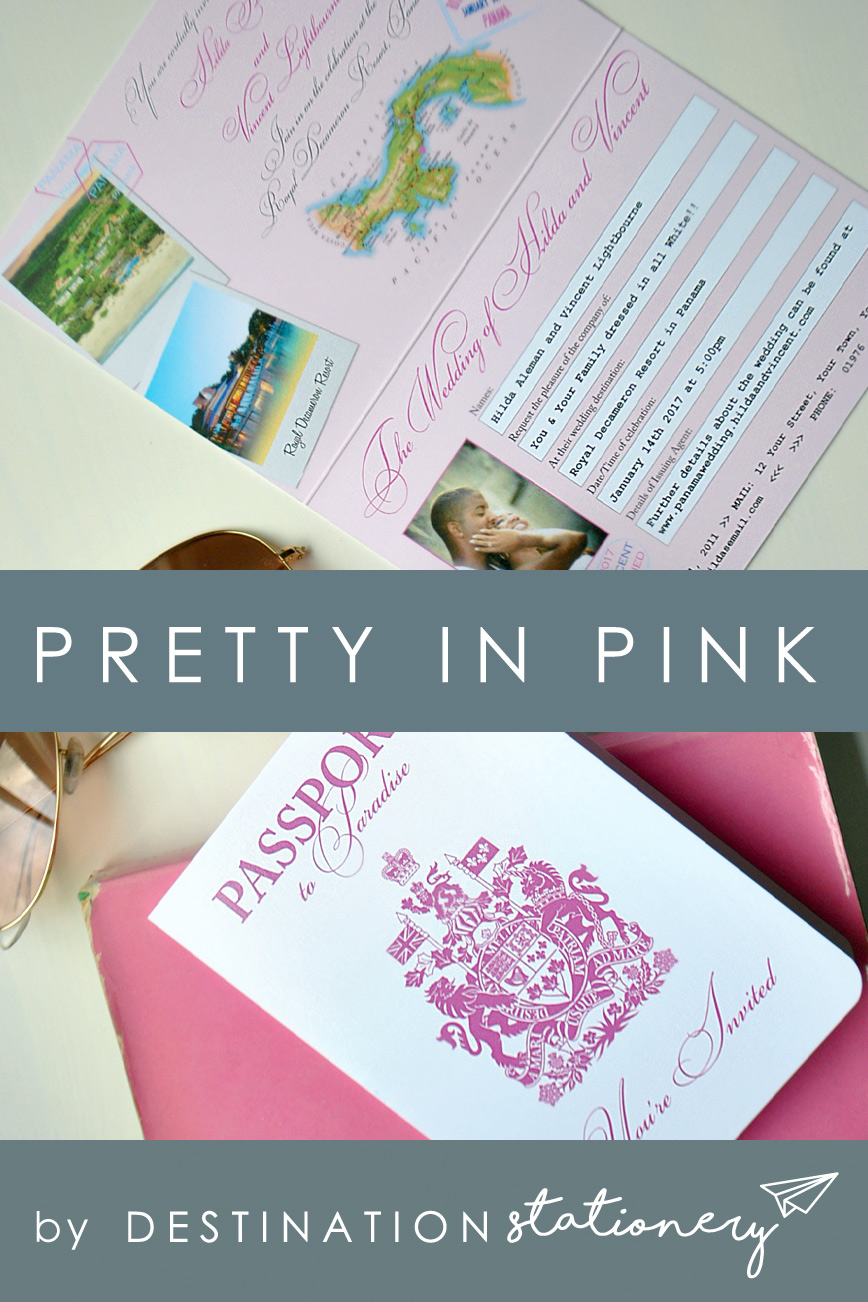 Pink Passport Invitation - Choose the perfect color to match your wedding theme at no extra charge