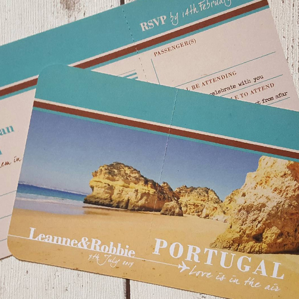 Destination Wedding in Portugal Airline Ticket Invitation
