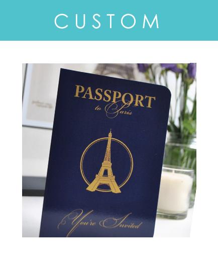 Custom passport invitations for your destination wedding or travel themed event are our speciality