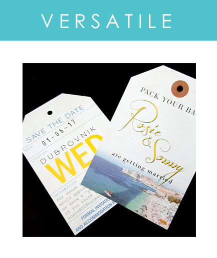 Luggage Tags are a versatile addition to your destination wedding stationery. Use them as RSVP Cards, Save the Dates, Menus and more...