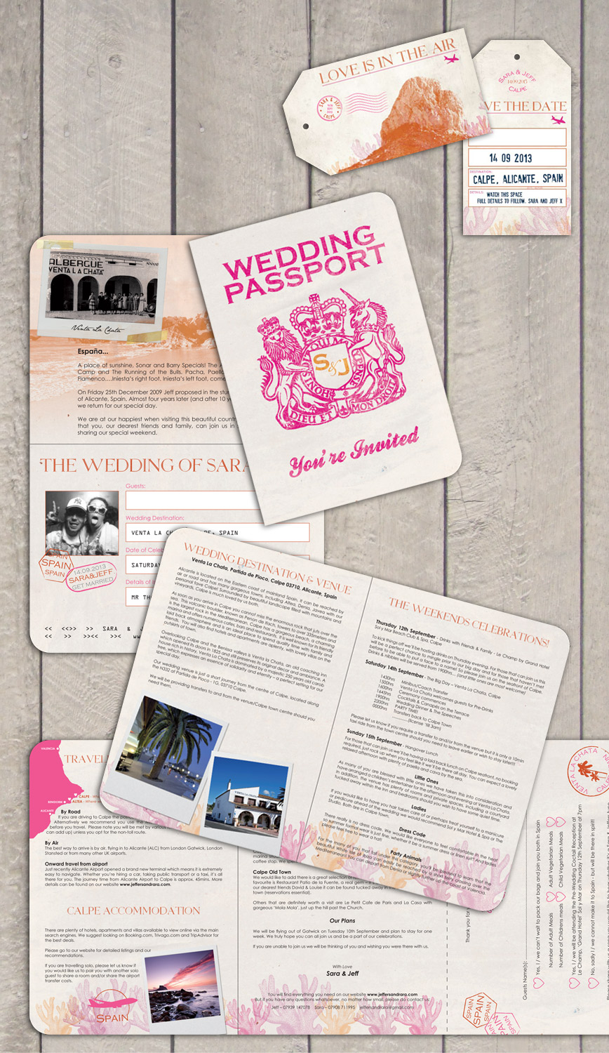Retro Passport Wedding Invitations from Destination Stationery