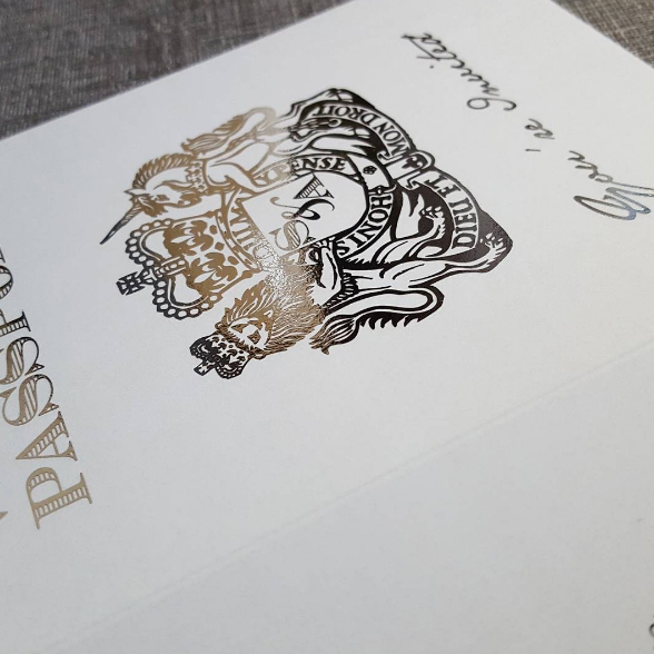 Silver Foil Blocking on British Passport Wedding Invitation