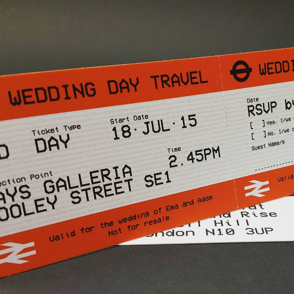Wedding RSVP designed to look like a London Underground Ticket