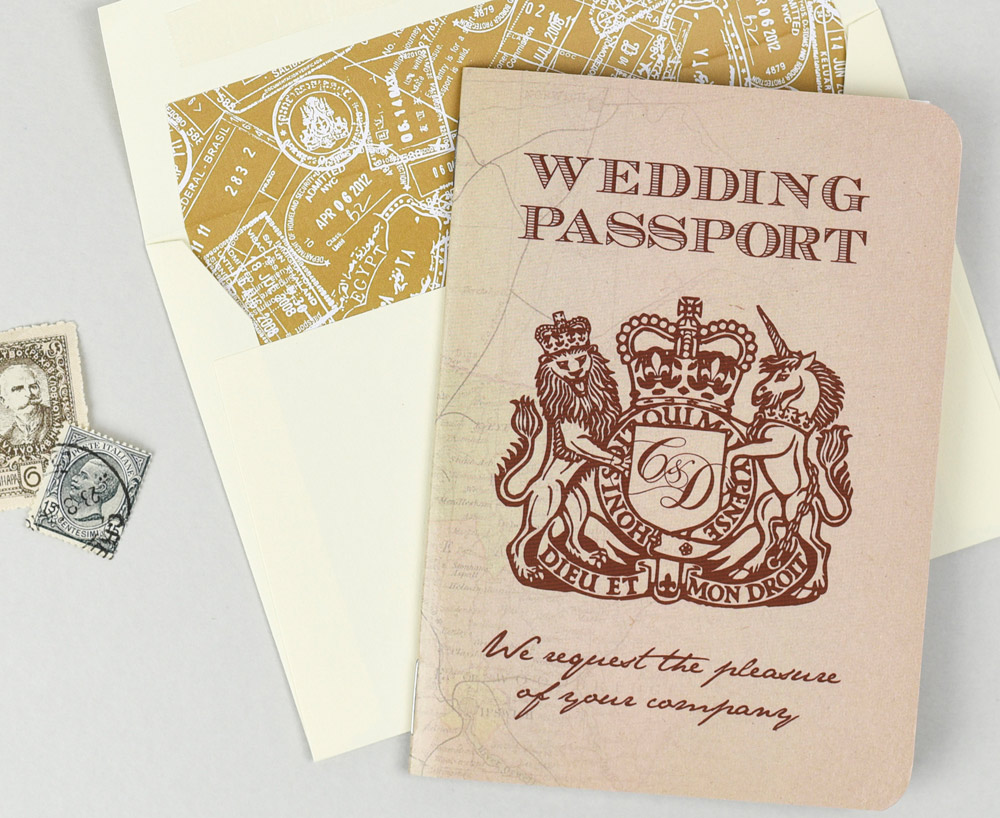 Vintage Rustic UK Passport Invitation