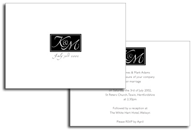 Black and White Monogram Invitation