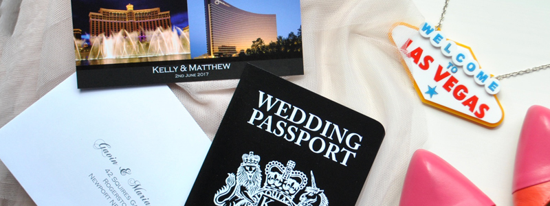 Las Vegas Wedding Passport Invitation with matching RSVP postcard