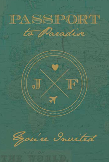 Custom Vintage Travel theme wedding passport invitations
