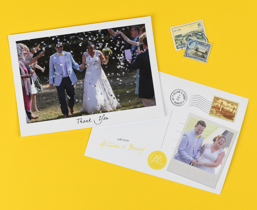Grey and Yellow Wedding Stationery Set including Thank You Postcard