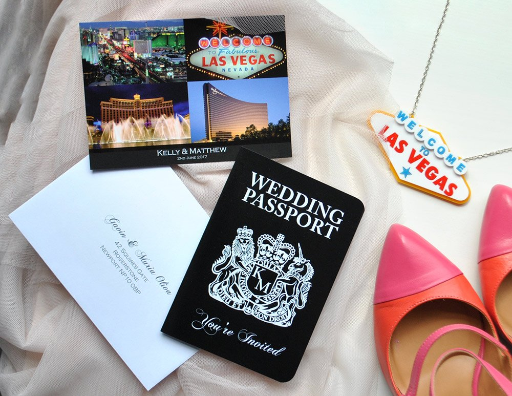 Las Vegas Wedding Passport Invitation, perfect if you're getting married in sin city and looking for a design to compliment your wedding destination