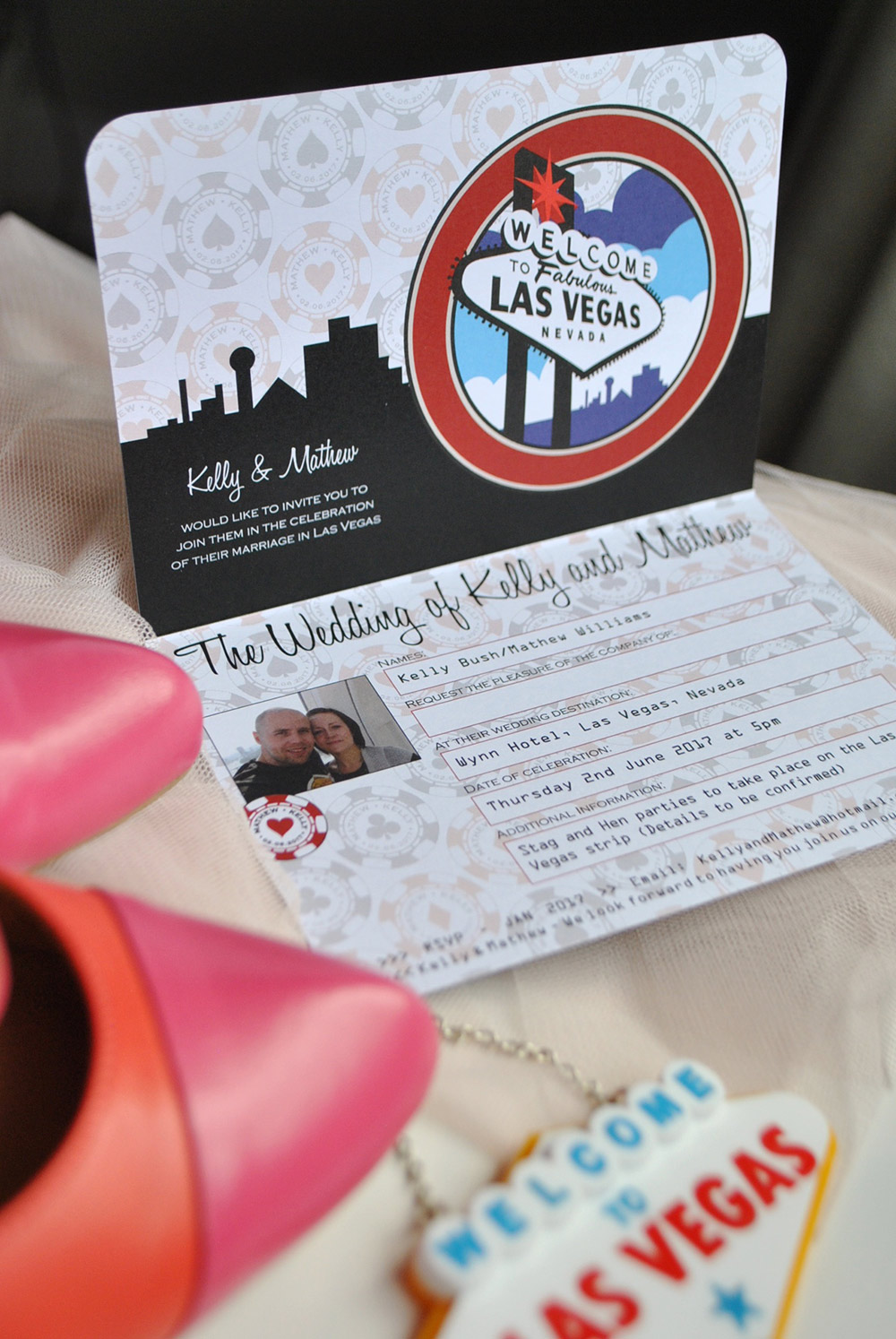Las Vegas Wedding Passport with matching Postcard RSVP