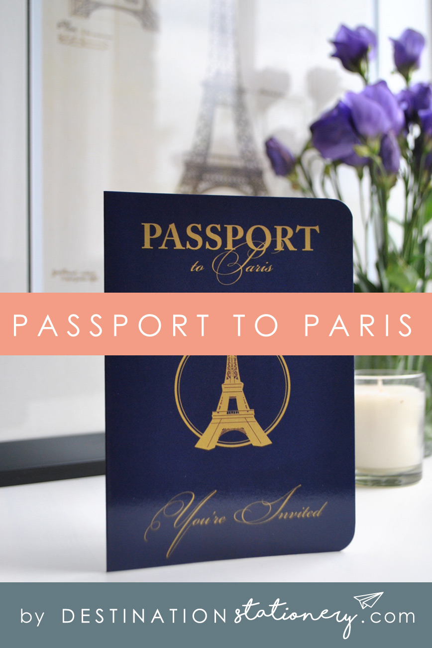Passport to Paris French themed wedding stationery including this Passport invitation featuring the Eiffel Tower.