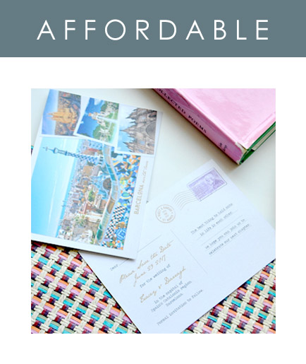 Postcards are an affordable option for your destination wedding stationery. Use them as Save the Dates to get your guests in the mood for your wedding abroad