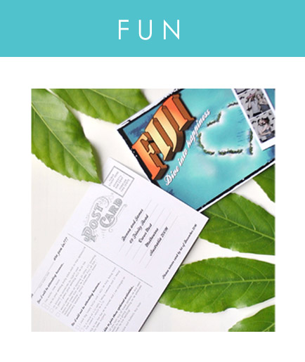 A fun way to invite guests to your wedding abroad or travel themed event. Postcards are a great way to get guests in the mood for your destination wedding