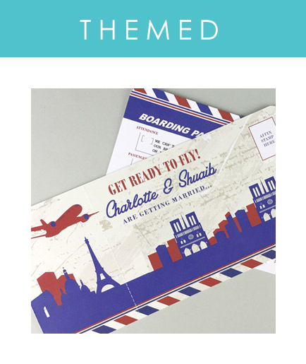 Themed airline ticket invitations designed to match your wedding venue or destination