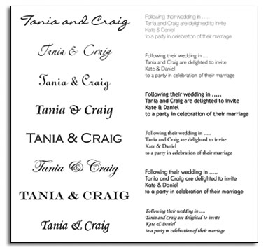 Wedding Stationery Typefaces